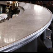 closeup detail cast collection artisan bistro metal countertops pewter countertop the edge