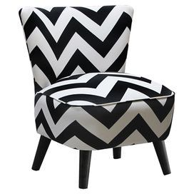 """Accent chair with black and white chevron upholstery and matching piped trim. Handmade in the USA.   Product: ChairConstruction Material: Wood frame and fabric seatColor: Black and whiteFeatures:   Contemporary zig zag printCone legsHandmade in the USA Dimensions: 32"""" H x 23.5"""" W x 25"""" D Cleaning and Care: Spot clean only"""