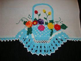 Pano De Prato Cesta De Croche Com Flores C Pano De Prato Cesta De