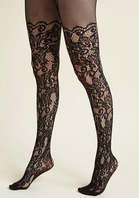 Black Spandex Gothic Victorian Floral Rose Vine Lace Design Fishnet Pantyhose OS