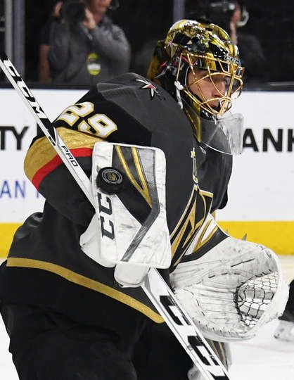 Las Vegas Nv April 13 Marc Andre Fleury 29 Of The Vegas Golden Knights Blocks A Los Angeles Kings Shot In The Third Period Of Game Two Vegas Golden Knights