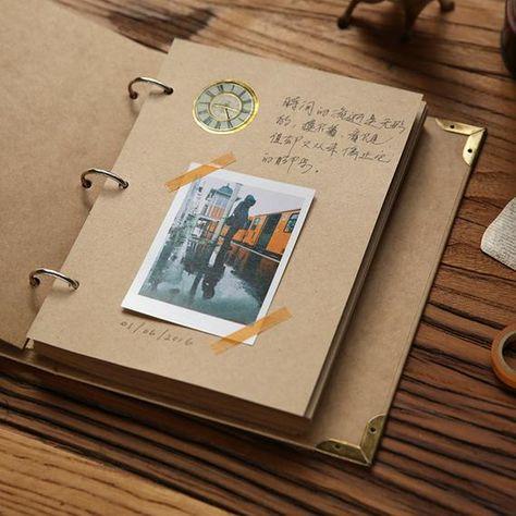Photo Album, black kraft Photo Album, blank scrapbook Album, white inserts, 3 Rings Binder, white ph