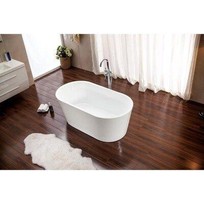 Azzuri Lola 29 5 In W X 53 1 In L Glossy White Acrylic Oval Center Drain Freestanding Lowes Com Soaking Bathtubs Bathtub Free Standing Bath Tub