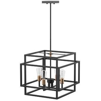 Themis 5 Light Candle Style Geometric Chandelier Reviews Allmodern Square Chandelier Candle Styling Chandelier