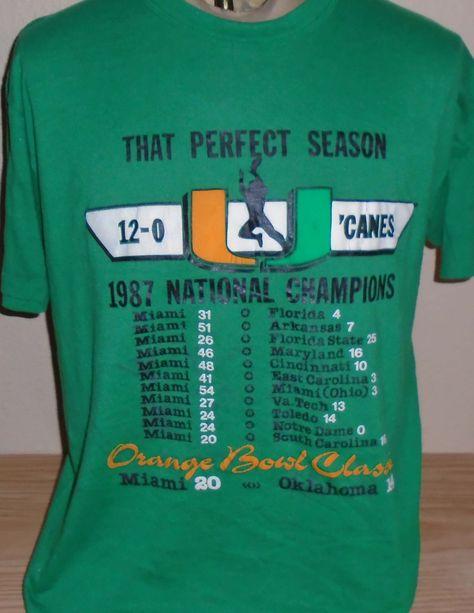 vintage 1987 Miami Hurricanes Orange Bowl t shirt size XL by