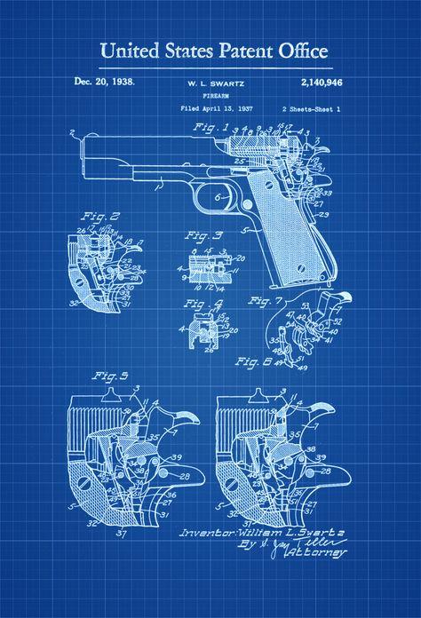 M1 Garand Rifle Patent 1932 - Patent Print, Wall Decor, Gun Art - new blueprint gun art