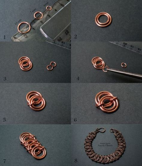 from Fradany -it's in Spanish, but the pictures are very helpful ~ Wire Jewelry Tutorials Wire Jewelry Designs, Jewelry Patterns, Jewelry Crafts, Jewelry Ideas, Copper Jewelry, Beaded Jewelry, Handmade Jewelry, Copper Wire, Jump Ring Jewelry