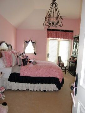 Pink And Black Bedroom | Pink And Black Color Scheme Design Ideas,  Pictures, Remodel, And Decor | Home Ideas...Girls Room | Pinterest |  Traditional Bedroom, ...