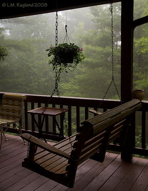 Imagine waking up in a cozy cabin in the mountains and walking out into this porch with hot tea in hand, inhaling the fresh smell of an early morning rain :) Peaceful. ~ yes, i want a porch like this and a swing. I always love sitting on the porch. Outdoor Spaces, Outdoor Living, Outdoor Decor, Outdoor Kitchens, Cozy Room, Cabins In The Woods, Cottage In The Woods, House In The Woods, My Dream Home