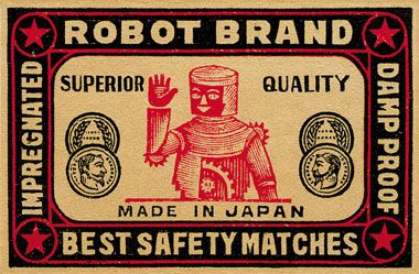 Robot Brand Safety Matches ☮~ Retro ROBOT ❤ Vintage illustration, design and poster art.