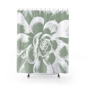 Large Green And White Succulent Shower Curtain Green Shower