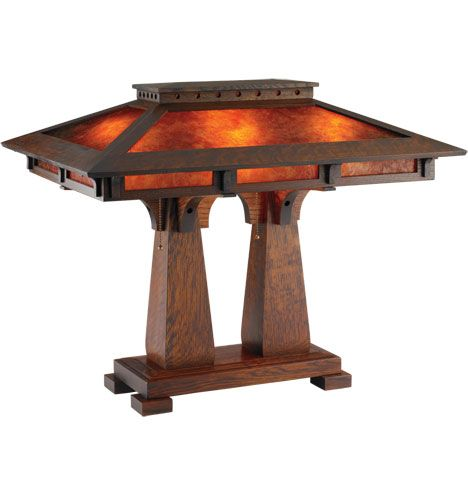 South Haven Double Table Lamp Handmade Arts & Crafts Double Table Lamp