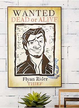 Disney Tangled Flynn Rider Wanted Poster Wood Wall Art Wood Wall