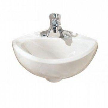 American Standard 0451021 020 0451 021 020 Corner Minette Wall Mount Sink With 4 Inch Centers In White Wall Mounted Sink Sink Porcelain Bathroom Sink