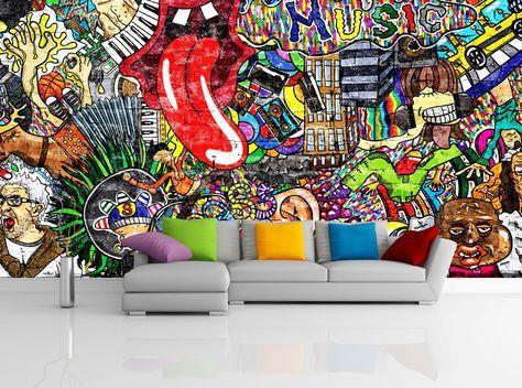 Removable Wallpaper Mural Peel Stick Self Adhesive Wallpaper Etsy Mural Wallpaper Mural Music Collage