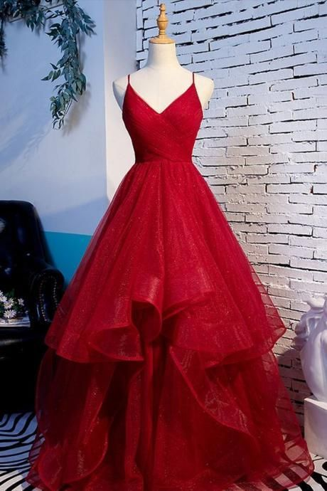 Red Tulle Evening Dress Layered Spaghetti Straps Party Dress V Neck Evening Dress Lace Up Formal Dress
