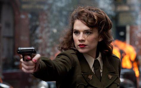 HD wallpaper: Hayley Atwell, Peggy Carter, women, actress, red lipstick, gun