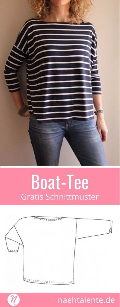 Gratis Schnittmuster Oversize-Shirt mit U-Boot-Ausschnitt. PDF-Schnitt zum Ausdrucken. Lagenlook ❤️ Nähtalente - Magazin für kostenlose Schnittmuster ❤️ Free sewing pattern for an Oversize-Shirt with boat neck. PDF-sewing-pattern for print at home ❤️ Nähtalente - Magazine for sewing and free sewing patterns ❤️ #nähen #freebook #schnittmuster #gratis #nähenmachtglücklich #freesewingpattern #handmade #diy