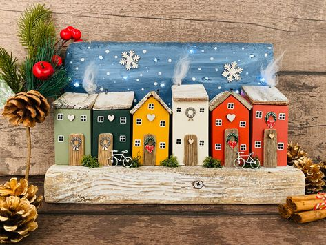 Christmas Village • Light Up Christmas Scene • Driftwood Home Art • Driftwood Decor • Driftwood Ornament • Christmas Decor • Christmas #housewares #etsy #homedecor #red #christmas #driftwoodchristmas #blue #driftwoodhouse #driftwoodornament #farmhouse