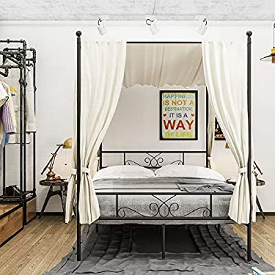 Amazon Com Weehom Full Size Canopy Bed Frame Metal Platform Bed 4