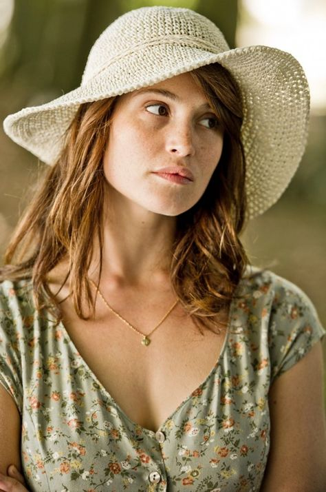 Gemma Arterton in white sun hat in Gemma Bovery.  This film was lovely to watch & I loved her outfits.