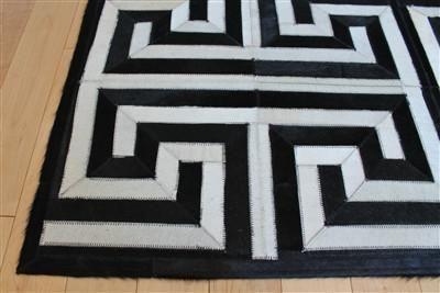 Greek Key Geometric Hide Rug Black