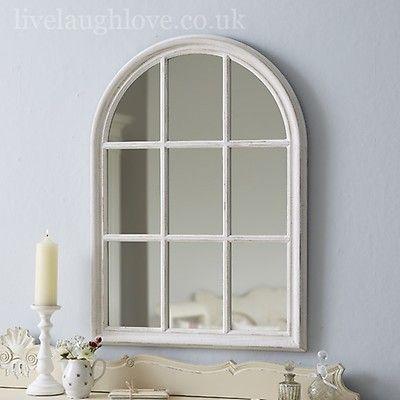 Giant Square Window Mirror Antique White Arched Window Mirror Window Mirror Shabby Chic Mirror Wall