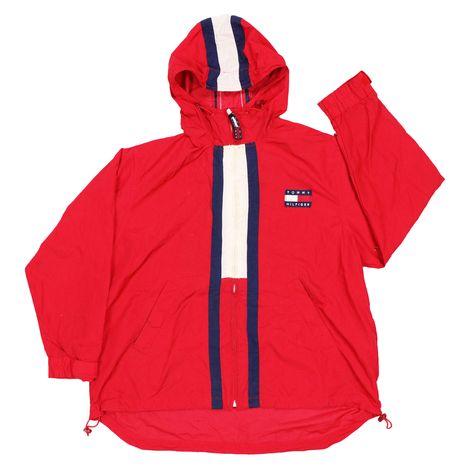 09bad8b5 ... shop: Vintage 90s Tommy Hilfiger Big Flag Logo spell out windbreaker  jacket full zip hoodie Size XL #clothing #jacket #red #streetwear  #windbreaker ...