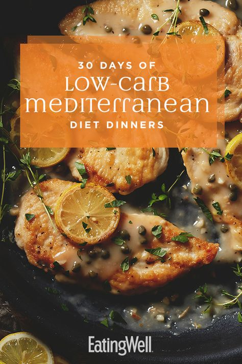 30 Days of Low-Carb Mediterranean Diet Dinners – Healthy Meal Plans – Diat Diets Plans To Lose Weight, Plats Weight Watchers, Easy Mediterranean Diet Recipes, Mediterranean Chicken, Med Diet, Low Carb Veggies, Ketogenic Diet Plan, Diet Meal Plans, Keto Meal