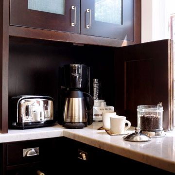 put appliances behind a door on your countertops for an easy way to hide clutter.