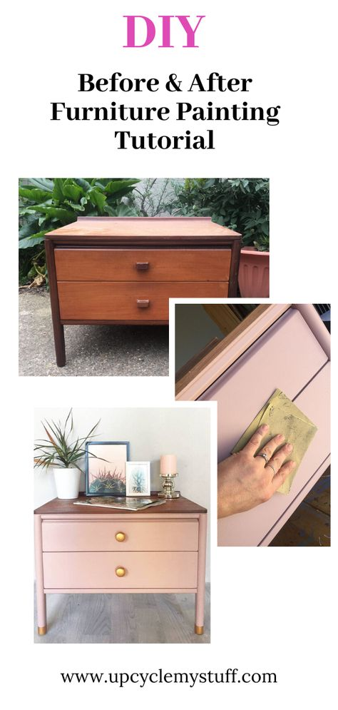 How to upcycle a mid-century modern chest of drawers into a bang up to date pink and gold statement piece. Paint used: Frenchic Al Fresco Brown Furniture, Paint Furniture, Furniture Projects, Furniture Makeover, Old Furniture Painted, Furniture Design, Pink Lady, Modern Chest Of Drawers, Chest Drawers
