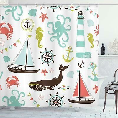 New 12 Nautical Anchor Ships Wheel Resin Shower Curtain Hooks Navy