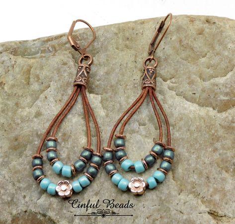 Seed Bead Leather Dangle Earrings  Boho Leather Earrings  | Etsy