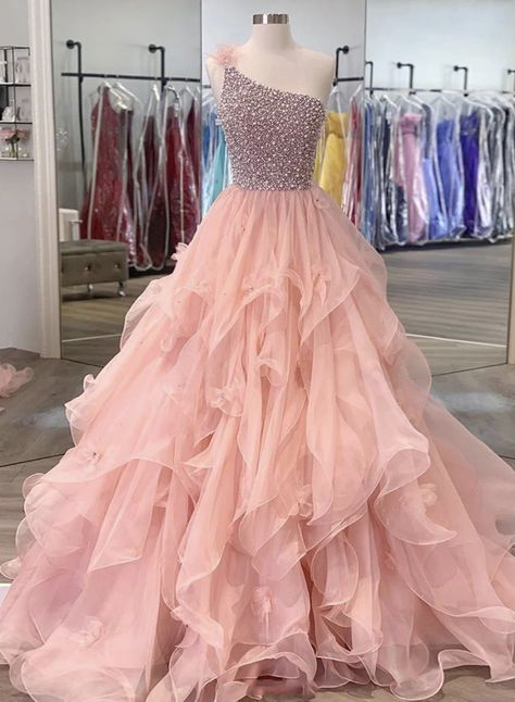 Pink one shoulder long ball gown dress formal dress
