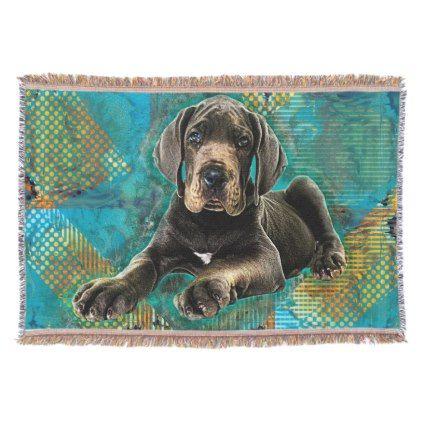 Great Dane Puppy Throw Zazzle Com Great Dane Puppy Great