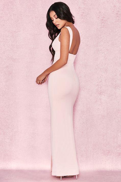 033b02da576 Clothing   Max Dresses    Narelle  Baby Pink Plunge Neck Maxi Dress ...