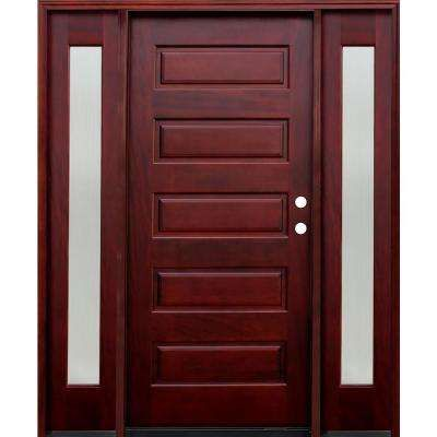 5 Panel Stained Mahogany Wood Prehung Front Door W 6 In Wall Series 12 In Reed Sidelites Wood Front Doors Wood Doors Interior Mahogany Wood