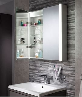 Led Bathroom Cabinet With Over Mirror Light 600mm X 500mm Bathroom Mirror Storage Bathroom Mirror Design Modern Bathrooms Interior
