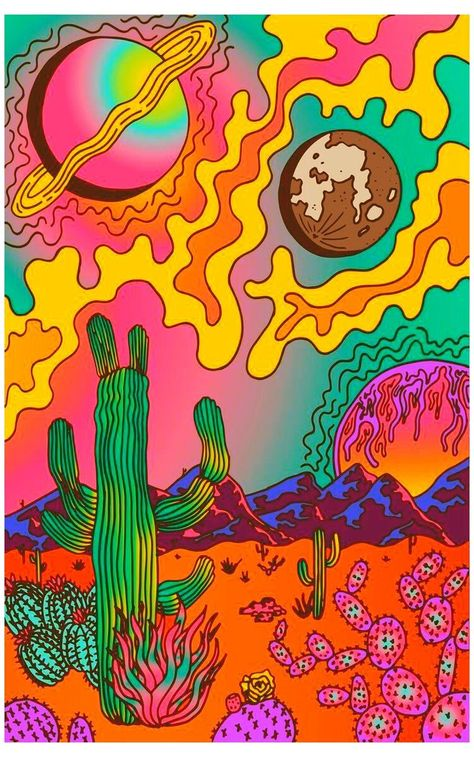 Hippie Painting, Trippy Painting, Cactus Painting, Painting Of Girl, Poster Color Painting, Hippie Wallpaper, Trippy Wallpaper, Retro Wallpaper, Aesthetic Iphone Wallpaper