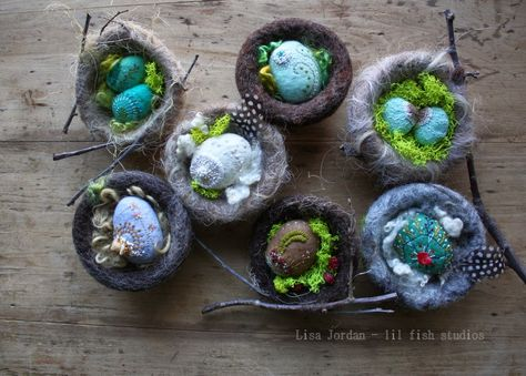 Eggs Of Shimmer And Earth Felted Nest Felt Crafts Needle Felting