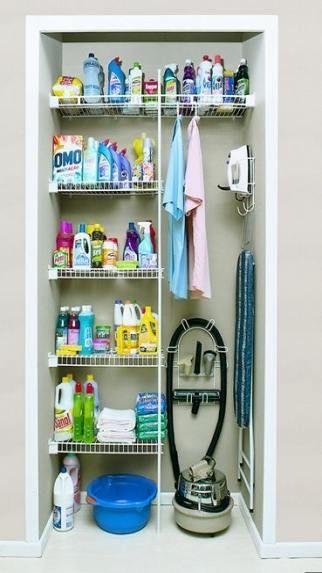 Utility Closet Organization Shelves Room Ideas 19 Ideas Organization Closet Armario De Limpeza Organizacao Da Lavanderia Ideias De Organizacao