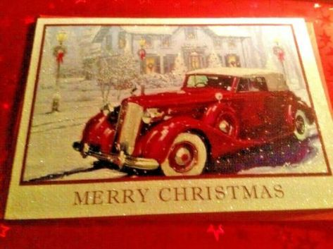 Christmas Glittered Greeting Card  Red Vintage Car Unused+env  | eBay -  - #car #card #Christmas #eBay #Glittered #greeting #red #Unusedenv #vintage