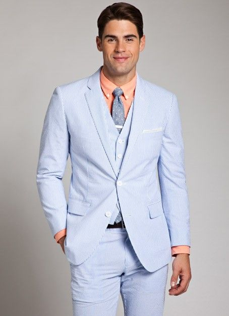 Blue and White Seersucker Suit for Men | Bonobos | Grooms ...