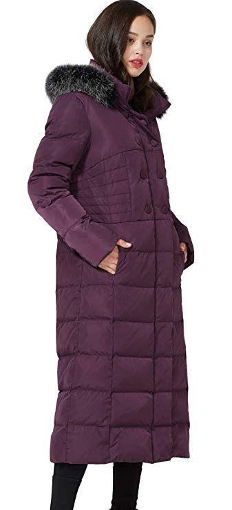 Molodo Women's Long Down Coat with Fur Hood Maxi Down Parka Puffer Jacket