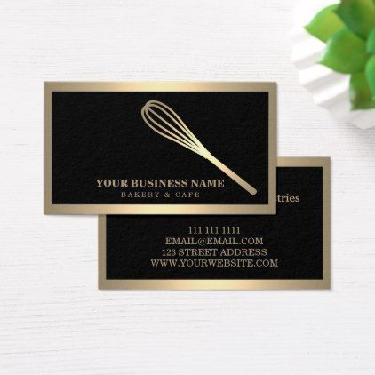 Modern Gold Whisk Bakery Business Card Zazzle Com Bakery Business Cards Bakery Business Printing Double Sided