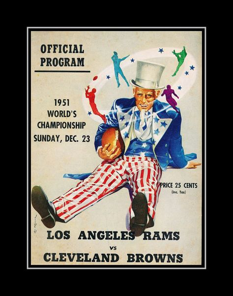 LA Rams Champion Poster, Gift, Vintage 1950s All America Football ...
