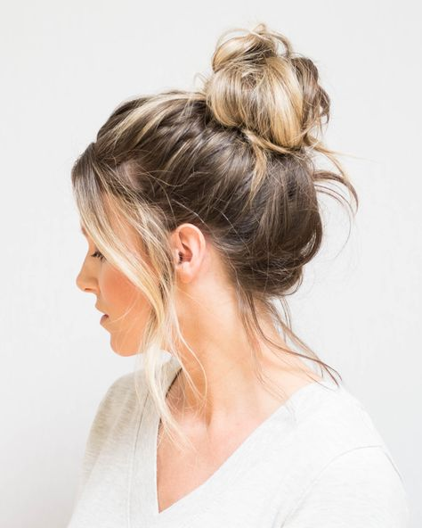 Bun Hairstyles For Long Hair, Lob Hairstyle, Hairstyle Ideas, Messy Bun For Short Hair, Short Hair Messy Bun, Quick Messy Bun, Messy Bun Outfit, Messy Lob, Cute Messy Buns