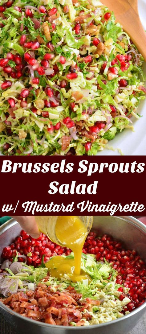 Delicious Brussels sprout salad made with shaved Brussels sprouts, pomegranate seeds, pecans, Gorgonzola, shallots, bacon, and tossed in sweetened Mustard Vinaigrette. This is a perfect winter salad and a great side dish to serve with a holiday dinner. #brusselssprouts #salad #pomegranate #vinaigrette #sidedish #holidaysides #christmassalads