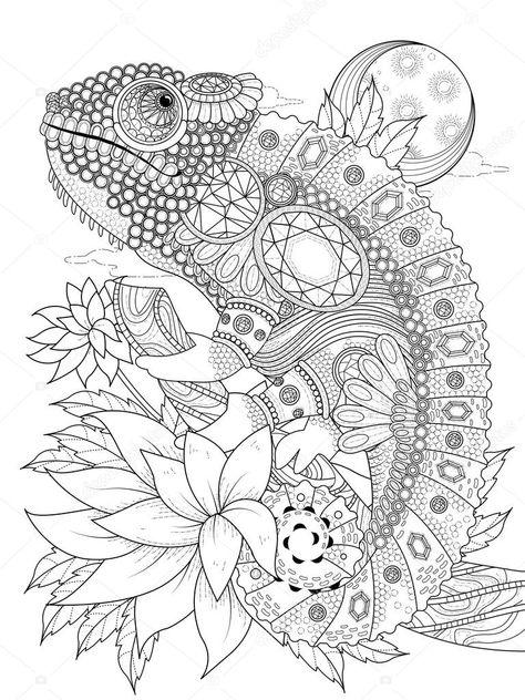Página para colorear de adultos - de camaleón adornada con joyas ...