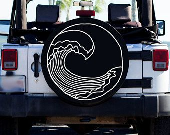 Beach Wave Design Tire Cover Beach Tire Cover Custom Tire Cover Jeep Tire Cover Women S Car Accessory Jeep Tire Cover Tire Cover Jeep Wrangler Tire Covers